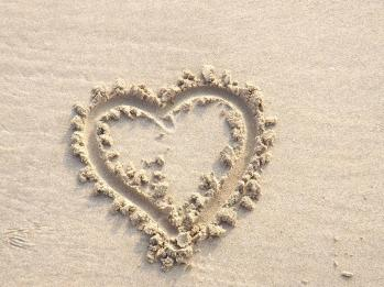 Love Heart in Sand